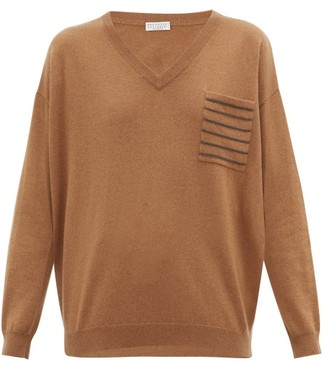 Brunello Cucinelli Embellished-pocket V-neck Cashmere Sweater - Womens - Brown