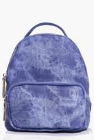 Boohoo Amber Washed Denim Effect Rucksack blue