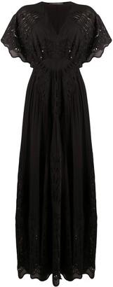 Alberta Ferretti Embroidered Cut-Out Detail Silk Maxi Dress