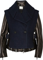 3.1 Phillip Lim Convertible leather and wool-blend biker jacket