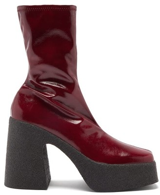 Stella McCartney Patent Faux-leather Platform Ankle Boots - Burgundy