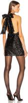 Saint Laurent Sequin Mini Dress in Black | FWRD