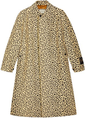 Gucci Leopard jacquard coat with label