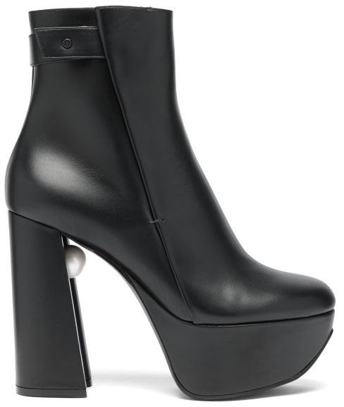 Nicholas Kirkwood Miri Faux Pearl Embellished Leather Platform Boots - Womens - Black