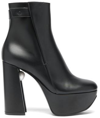 Nicholas Kirkwood Miri Faux Pearl-embellished Leather Platform Boots - Black