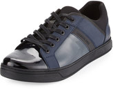 Kenneth Cole Swag-gy Patent Low-Top Sneaker, Steel/Black
