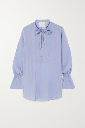 Forte Forte Pussy-bow Crinkled Cotton And Silk-blend Shirt - Blush
