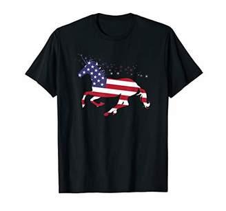 Unicorn With American Flag USA T-Shirt