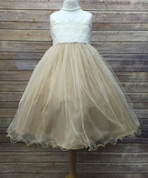 Precious Kids Girls' Special Occasion Dresses champ - Champagne Lace Glitter Dress - Toddler & Girls