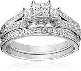 Kobelli 1-1/8 cttw Princess and Round Diamond 14k Gold Wedding Ring Set, Size 6