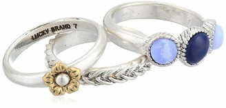 Lucky Brand Women's Blue Lace Agate Ring Stack