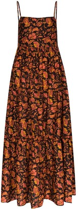 Matteau Tiered Paisley-Print Cotton Maxi Dress