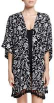 Seafolly Palm Print Kimono Jacket Coverup, Black
