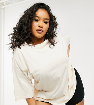 ASOS DESIGN Curve ultimate oversized t-shirt in cream