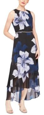 SL Fashions Floral-Print Chiffon High-Low Dress