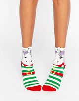Asos Holidays Unicorn In Elf Outfit Sock
