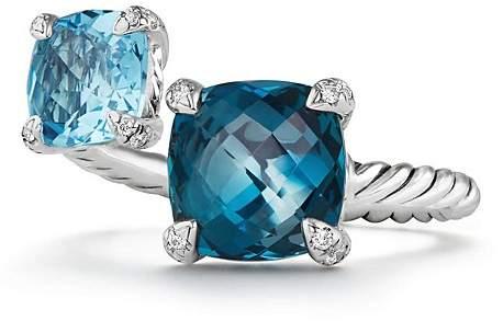 David Yurman Ch'telaine Bypass Ring with Hampton Blue Topaz, Blue Topaz and Diamonds