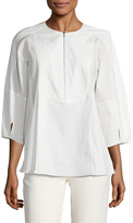 Oscar de la Renta 3/4 Sleeve Zip Front Cotton Blouse