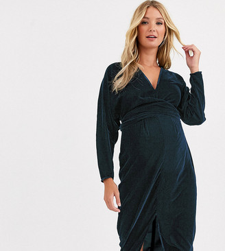 ASOS DESIGN Maternity midi dress with batwing sleeve and wrap waist in velvet