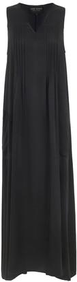 Lindsay Nicholas New York Maxi Dress In Black Silk Satin
