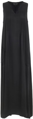 Maxi Dress In Black Silk Satin