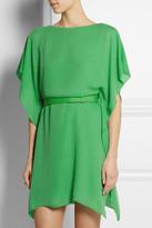 Halston Belted satin-crepe dress