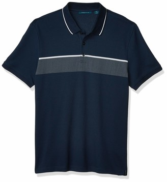Perry Ellis Men's Jacquard Chest Stripe Short Sleeve Polo Shirt