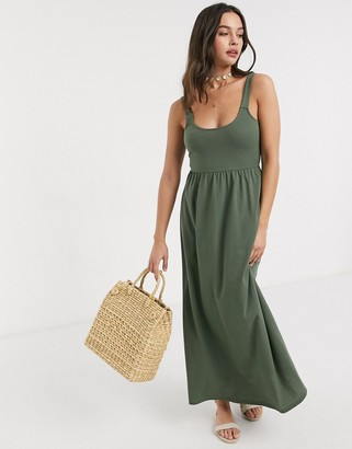 Asos DESIGN maxi dress with buckle back in khaki