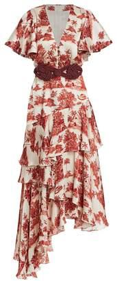 Johanna Ortiz Las Alas De La Memor Asymmetric Silk Printed Midi Dress