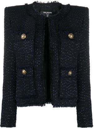 Balmain Tweed Square-Shoulder Jacket