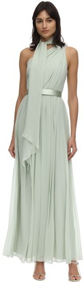 Max Mara Draped Silk Georgette One Shoulder Dress
