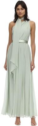 Max Mara Draped Silk Georgette One Shoulder Dress