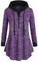 Cellabie CELLABIE Women's Sweatshirts and Hoodies Purple - Purple Front-Zip Hooded Curved-Hem Tunic - Women