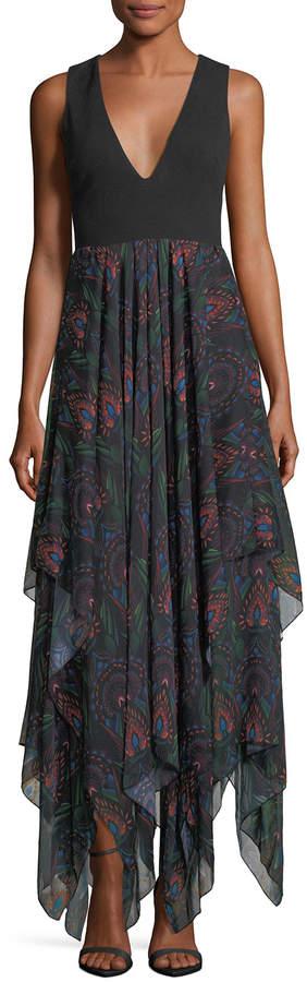 Alice + Olivia V-Neck Maxi Dress w/ Chiffon Skirt