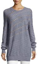Prabal Gurung Diagonal Cutout & Seam Merino Wool Sweatshirt, Gray