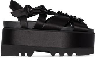 Simone Rocha 75mm Floral-Appliqued Flatform Sandals