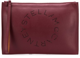 Stella McCartney large perforated-logo clutch