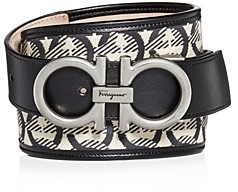 Salvatore Ferragamo Men's The Gancini Jacquard & Leather Belt