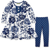 Millie Loves Lily Girls' Casual Dresses - Navy Toile Floral Button-Accent Pleated A-Line Dress & Leggings - Toddler & Girls