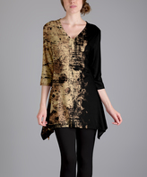 Lily Beige & Black Abstract Sidetail Tunic - Plus Too