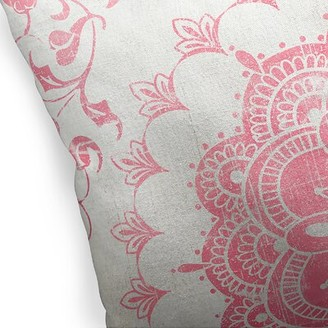 """KAVKA DESIGNS Boho Bloom Cotton Indoor/Outdoor Floral Throw Pillow Size: 16"""" H x 16"""" W x 5"""" D, Color: Pink/ Ivory"""