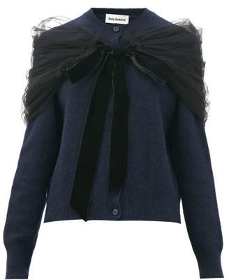 Molly Goddard Joelle Tulle-shawl Wool Cardigan - Navy