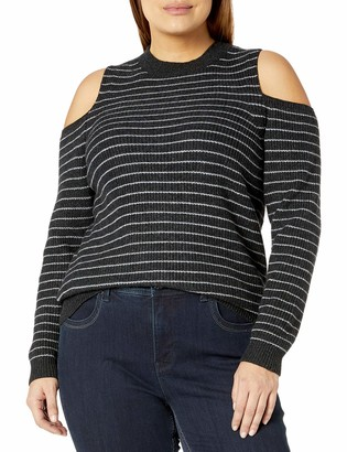 Lucky Brand Women's Plus Size Stripe Cold Shoulder Pullover Sweater