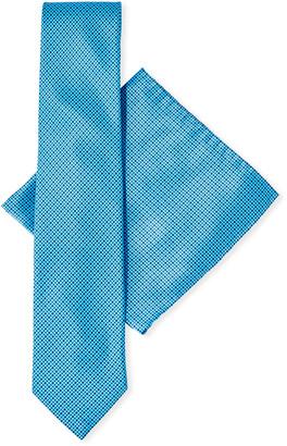 Stefano Ricci Neat Print Tie & Pocket Square Set