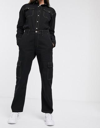 WÅVEN utility pocket boyfriend jeans-Black