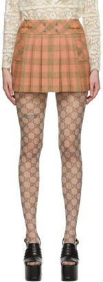 Gucci Pink Wool Damier Optical Miniskirt