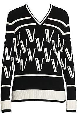 Valentino Women's Double V Intarsia Knit Wool & Cashmere Sweater