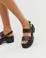 Asos Design DESIGN Finalist chunky flat sandals in burgundy patent croc