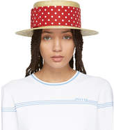 Miu Miu Tan and Red Polka Dot Fedora