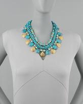 Jose & Maria Barrera Multi-Strand Turquoise & Gold Plate Necklace